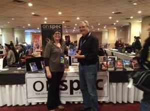 Author GoH David Gerrold took time out from his Pure Spec duties to visit with Diane at the On Spec booth.