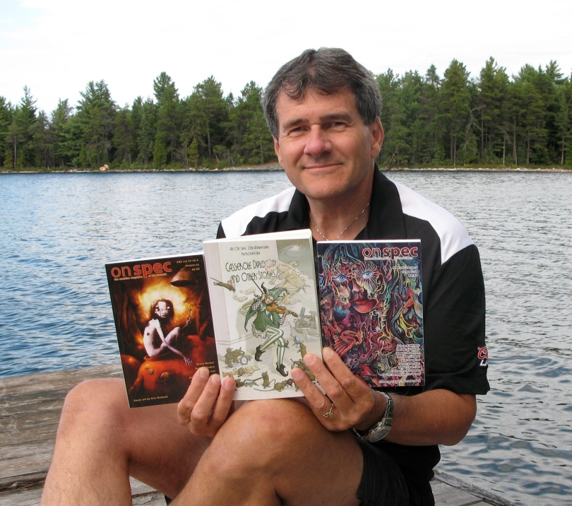 """I'm proud to say that my first story sale was to On Spec (""""The Wind Man"""" Issue #83 Vol 22 no 4 Winter 2010-2011). The magazine also included my """"A Taste Of Time"""" (originally published in Issue #88 vol 24 no 1 Spring 2012) in the 25th Anniversary retrospective Casserole Diplomacy and Other Stories. Amazing company to be in.  These days I'm taking a shot at writing full-time (crazy, yes), hunting for an agent, polishing the second of my four SF manuscripts and outlining a fifth. When ideas strike, I still write short stories. I'm planning to self-publish some of the stories and possibly one of the novels in e-format soon. My website is www.scottoverton.ca."""